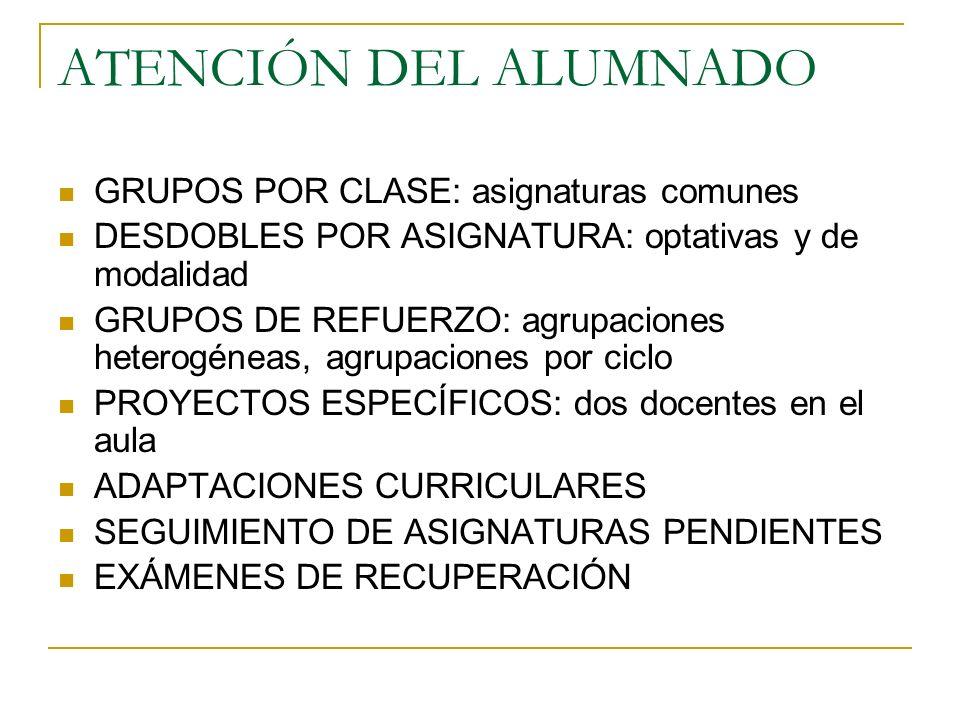 ATENCIÓN DEL ALUMNADO GRUPOS POR CLASE: asignaturas comunes