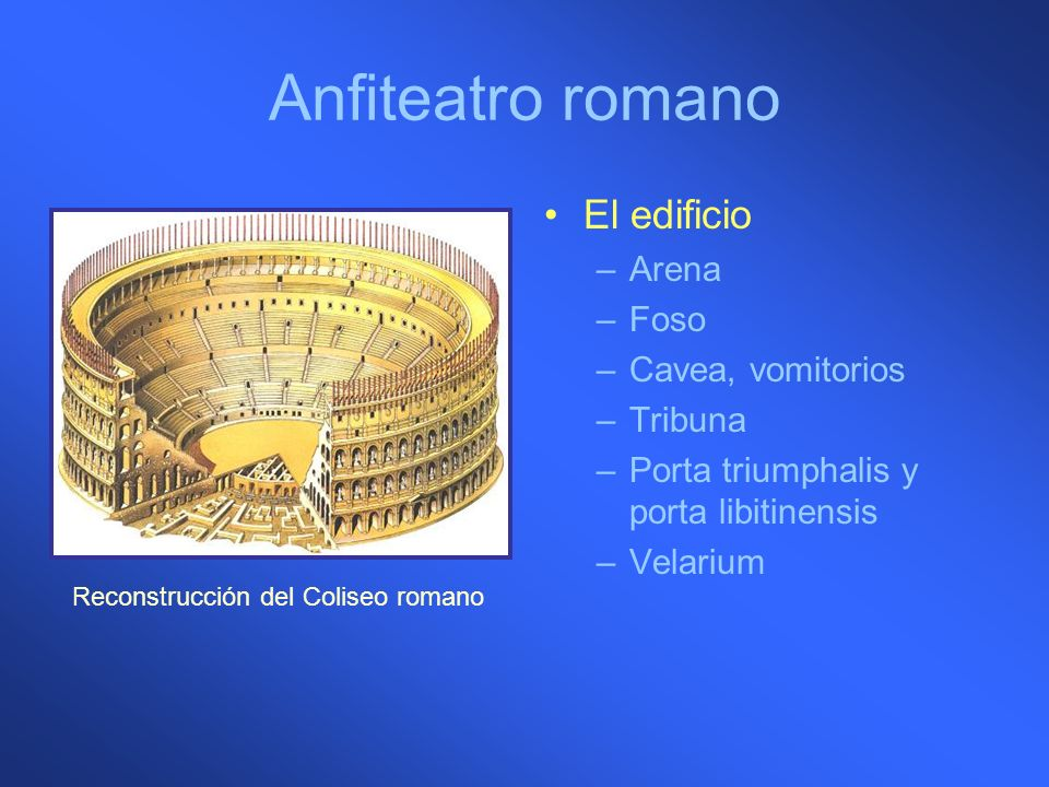 Anfiteatro romano El edificio Arena Foso Cavea, vomitorios Tribuna