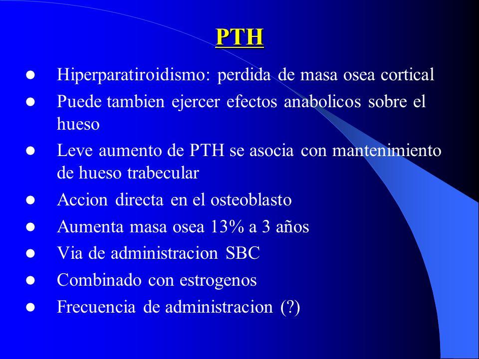 PTH Hiperparatiroidismo: perdida de masa osea cortical