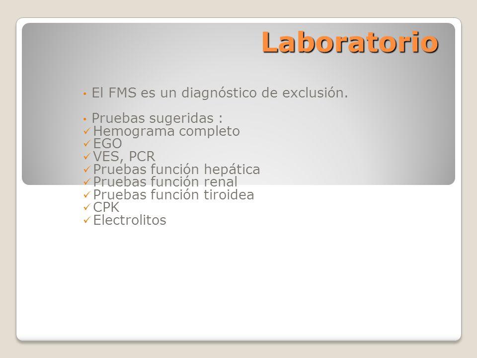 Laboratorio El FMS es un diagnóstico de exclusión. Pruebas sugeridas :