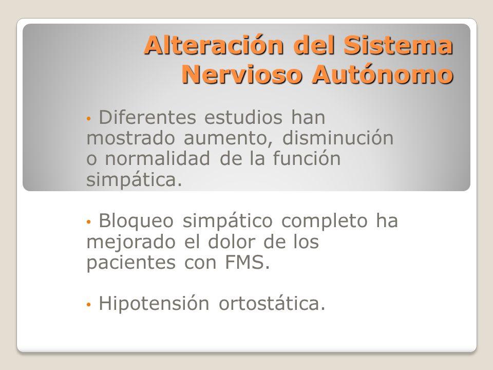 Alteración del Sistema Nervioso Autónomo
