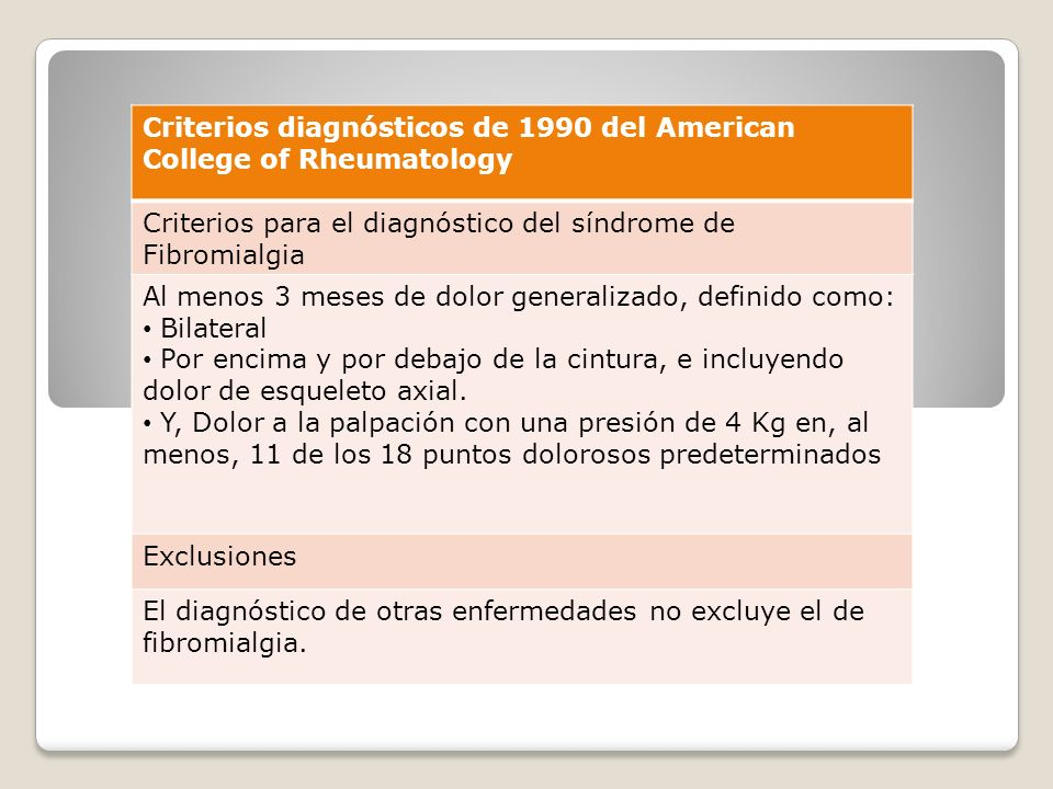 Criterios diagnósticos de 1990 del American College of Rheumatology