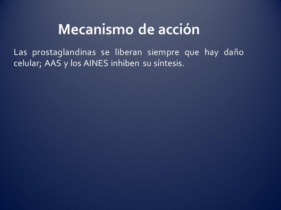 Mecanismo de acciónLas prostaglandinas se liberan siempre que hay daño celular; AAS y los AINES inhiben su síntesis.