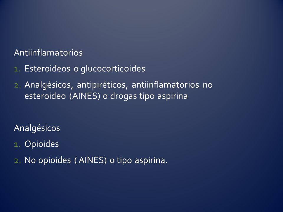 Antiinflamatorios Esteroideos o glucocorticoides. Analgésicos, antipiréticos, antiinflamatorios no esteroideo (AINES) o drogas tipo aspirina.
