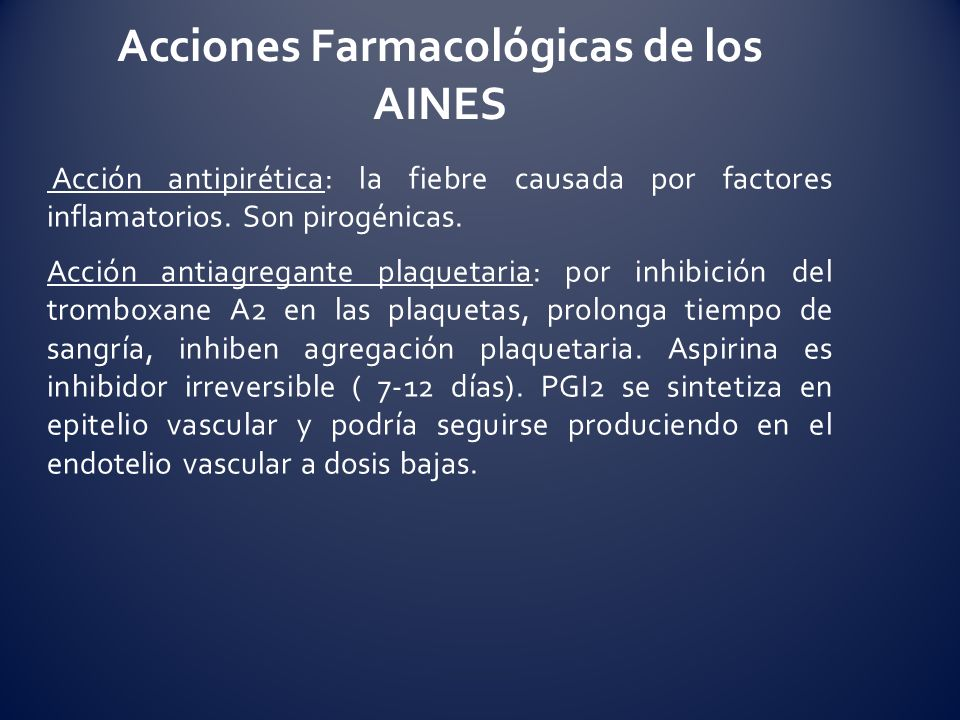 Acciones Farmacológicas de los AINES