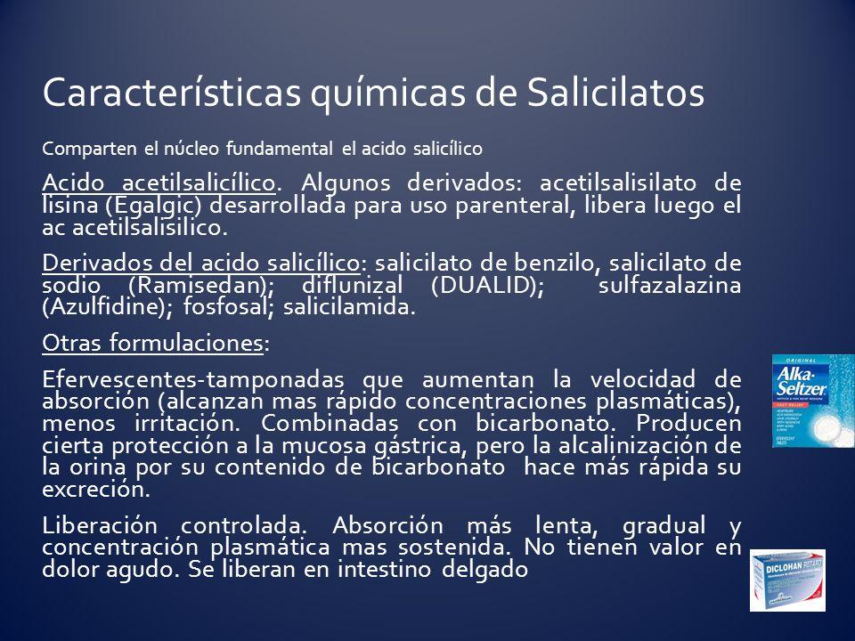 Características químicas de Salicilatos