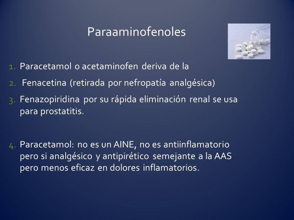 Paraaminofenoles Paracetamol o acetaminofen deriva de la