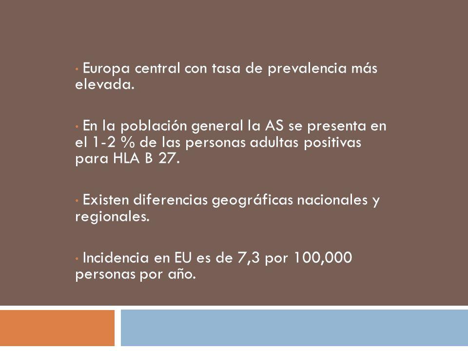 Europa central con tasa de prevalencia más elevada.