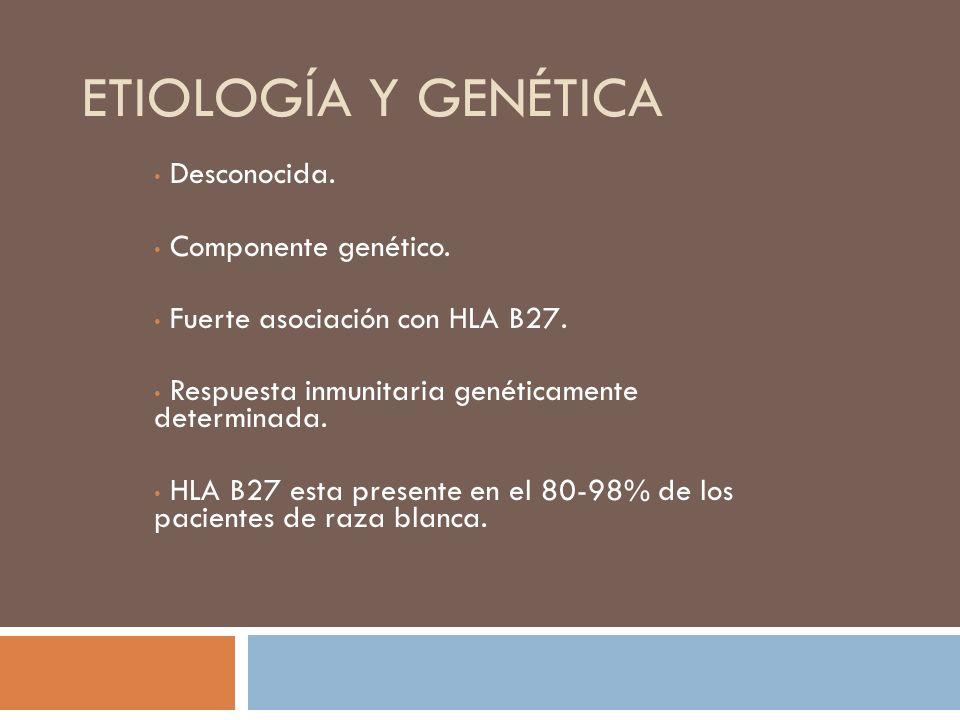 Etiología y genética Desconocida. Componente genético.