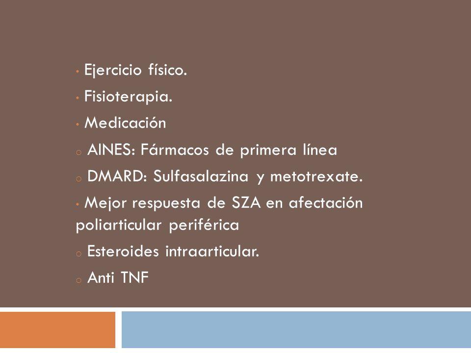 Ejercicio físico.Fisioterapia. Medicación. AINES: Fármacos de primera línea. DMARD: Sulfasalazina y metotrexate.