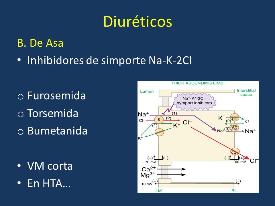 Diuréticos B. De Asa Inhibidores de simporte Na-K-2Cl Furosemida