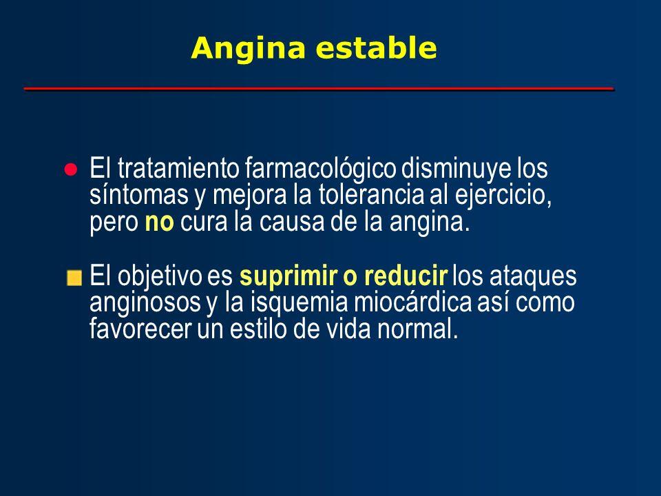Angina estable El tratamiento farmacológico disminuye los síntomas y mejora la tolerancia al ejercicio, pero no cura la causa de la angina.