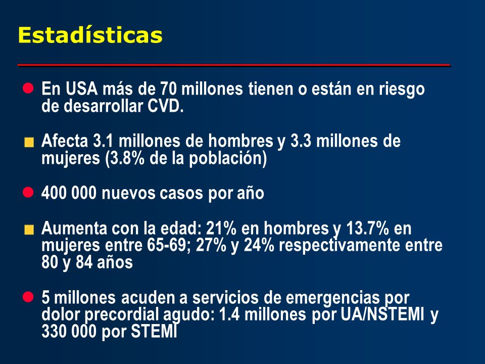 Estadísticas En USA más de 70 millones tienen o están en riesgo de desarrollar CVD.