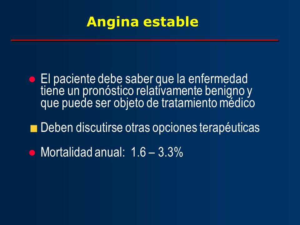 Angina estable El paciente debe saber que la enfermedad tiene un pronóstico relativamente benigno y que puede ser objeto de tratamiento médico.