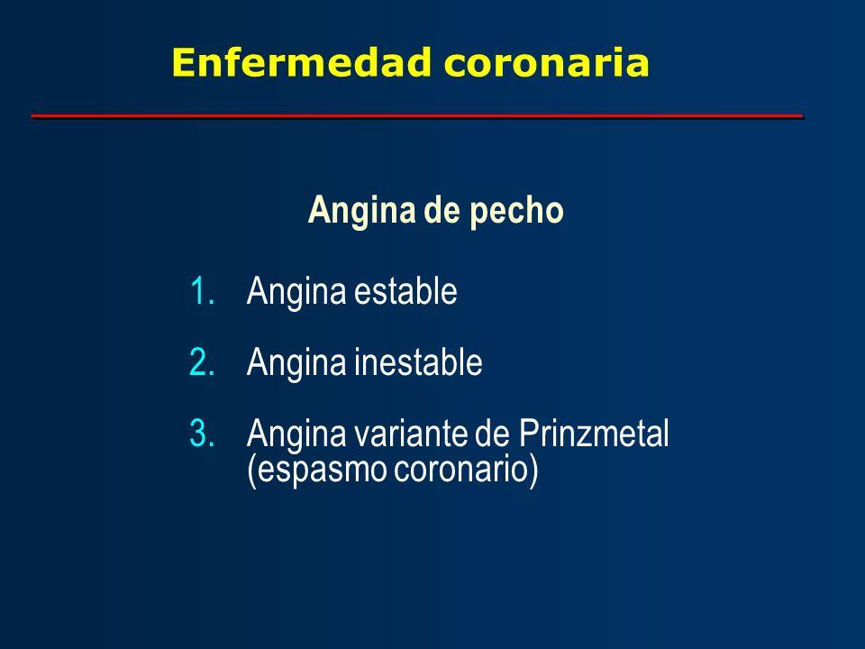 Enfermedad coronaria Angina de pecho. Angina estable.