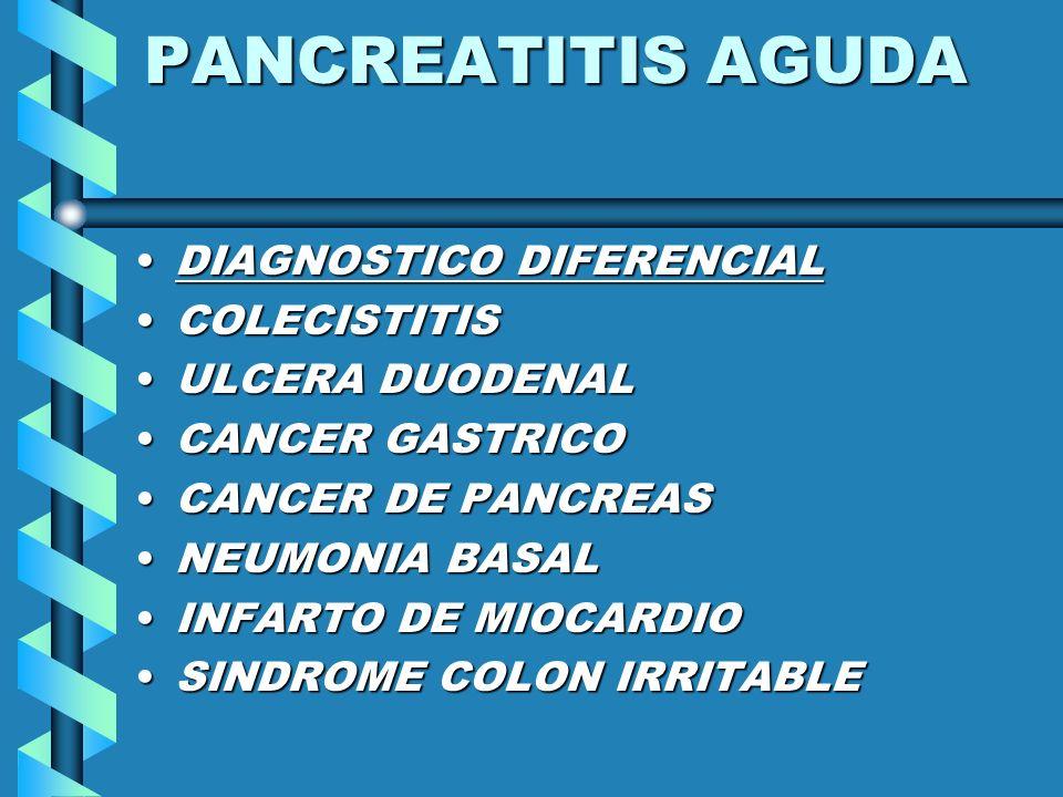 PANCREATITIS AGUDA DIAGNOSTICO DIFERENCIAL COLECISTITIS