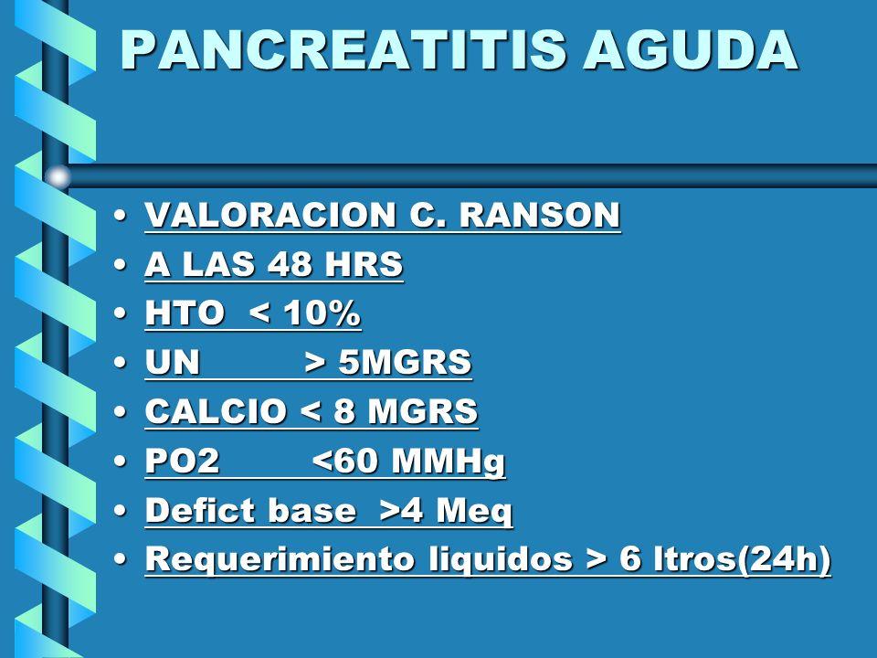 PANCREATITIS AGUDA VALORACION C. RANSON A LAS 48 HRS HTO < 10%