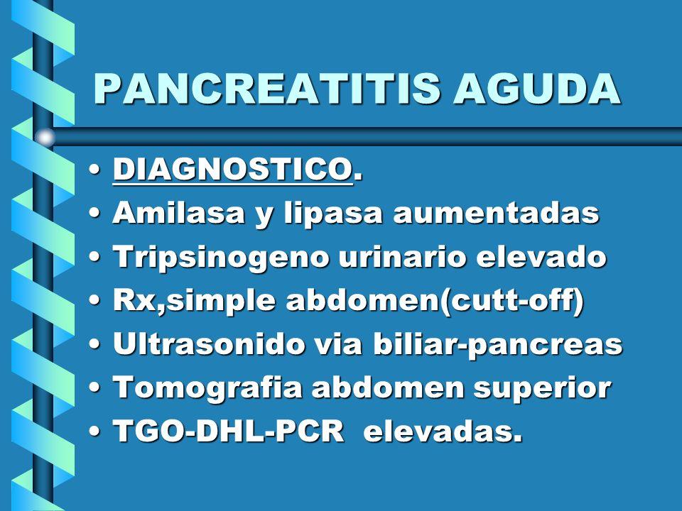 PANCREATITIS AGUDA DIAGNOSTICO. Amilasa y lipasa aumentadas