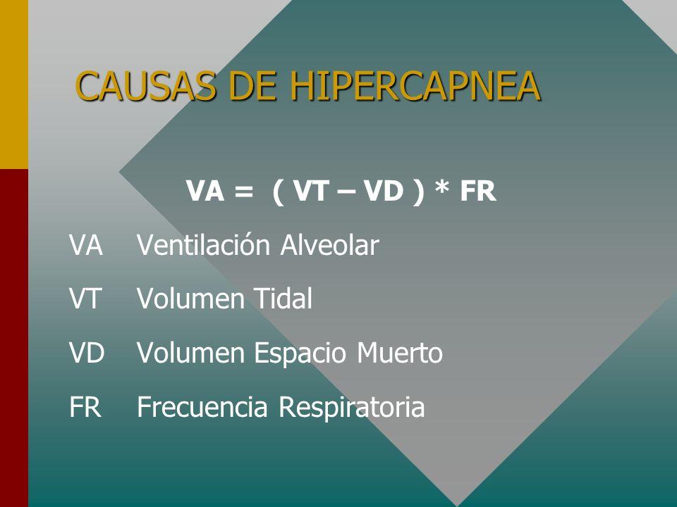 CAUSAS DE HIPERCAPNEA VA = ( VT – VD ) * FR VA Ventilación Alveolar