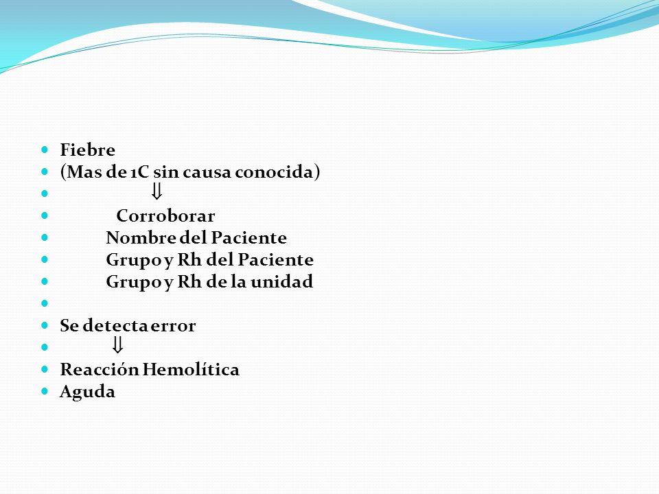 Fiebre(Mas de 1C sin causa conocida)  Corroborar. Nombre del Paciente. Grupo y Rh del Paciente. Grupo y Rh de la unidad.