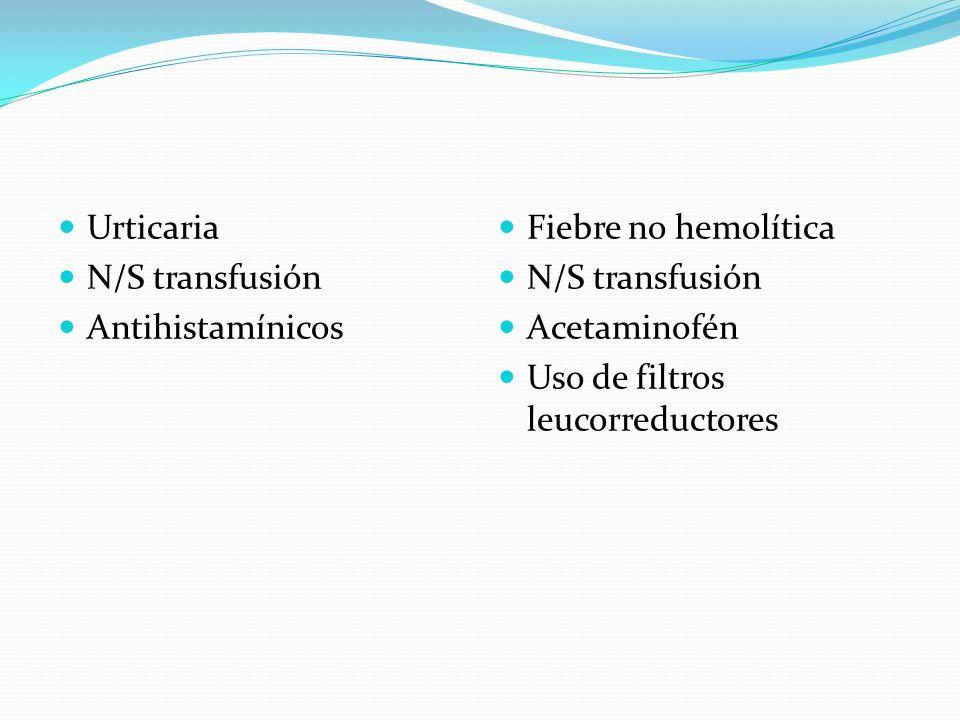 Urticaria N/S transfusión. Antihistamínicos. Fiebre no hemolítica. N/S transfusión. Acetaminofén.