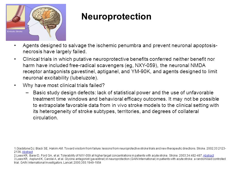 NeuroprotectionAgents designed to salvage the ischemic penumbra and prevent neuronal apoptosis-necrosis have largely failed.