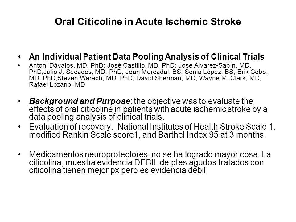Oral Citicoline in Acute Ischemic Stroke