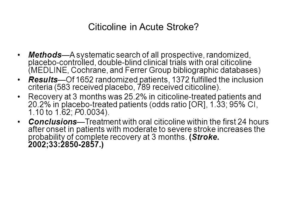 Citicoline in Acute Stroke
