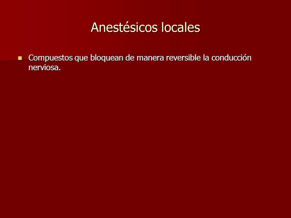 Anestésicos locales Compuestos que bloquean de manera reversible la conducción nerviosa.
