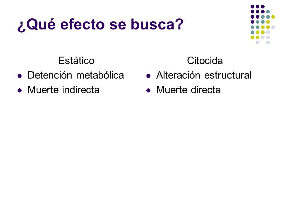 ¿Qué efecto se busca Estático Detención metabólica Muerte indirecta