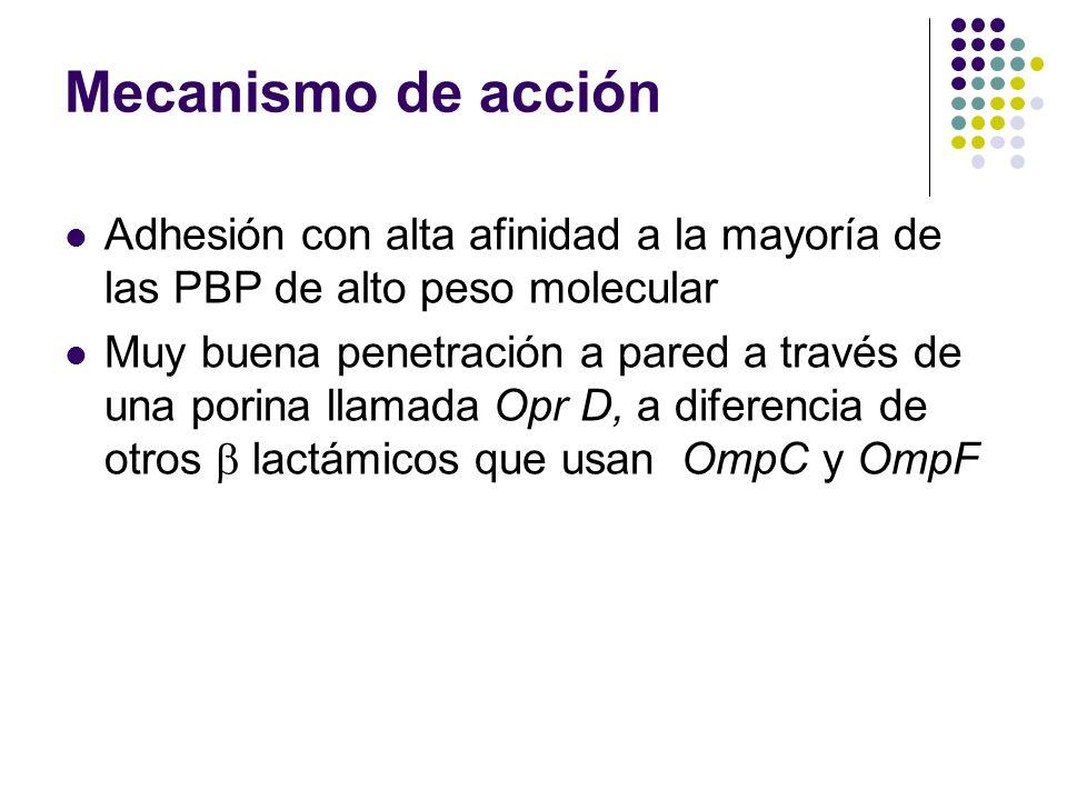 Mecanismo de acción Adhesión con alta afinidad a la mayoría de las PBP de alto peso molecular.