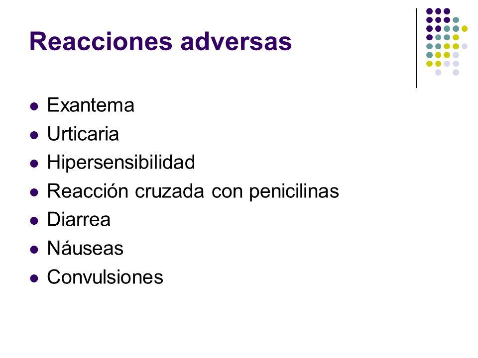 Reacciones adversas Exantema Urticaria Hipersensibilidad