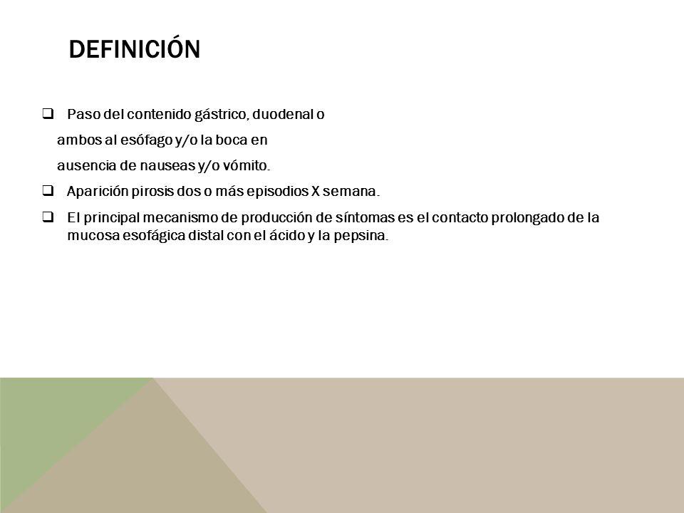Definición Paso del contenido gástrico, duodenal o