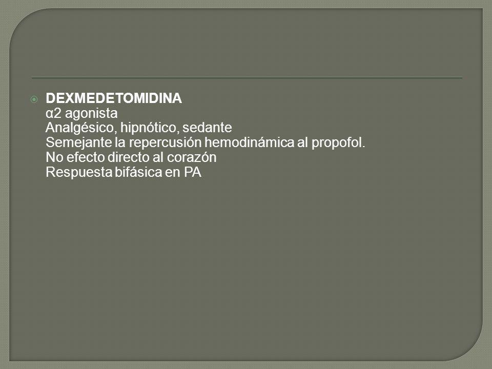 DEXMEDETOMIDINA α2 agonista. Analgésico, hipnótico, sedante. Semejante la repercusión hemodinámica al propofol.
