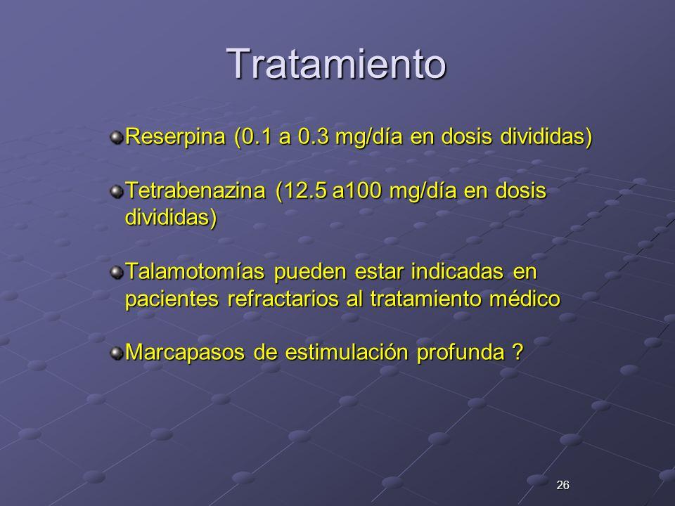 Tratamiento Reserpina (0.1 a 0.3 mg/día en dosis divididas)