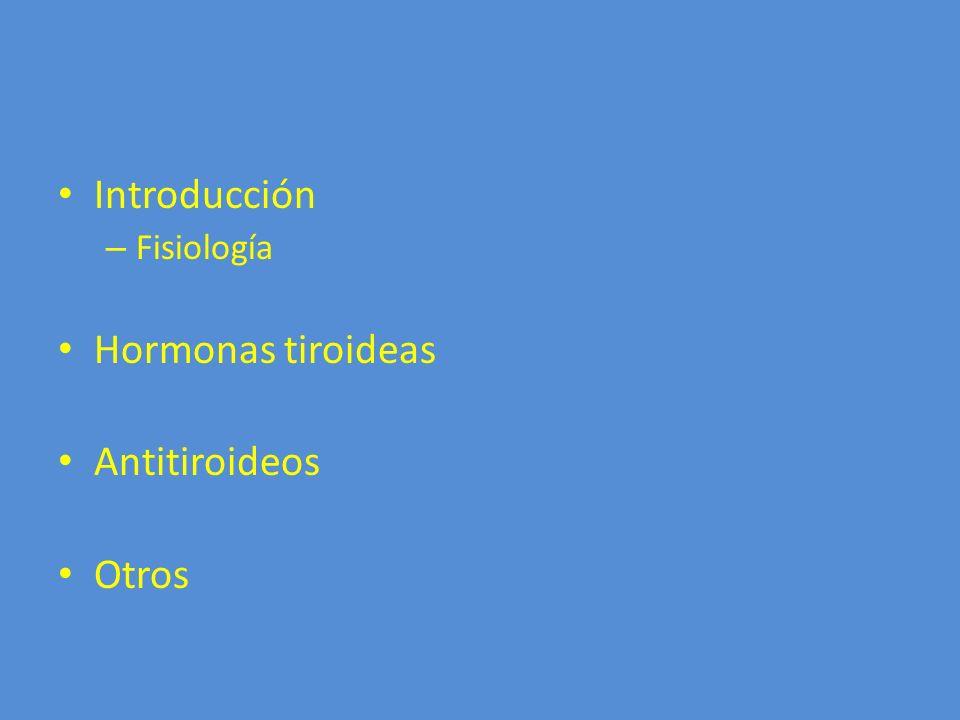 Introducción Fisiología Hormonas tiroideas Antitiroideos Otros