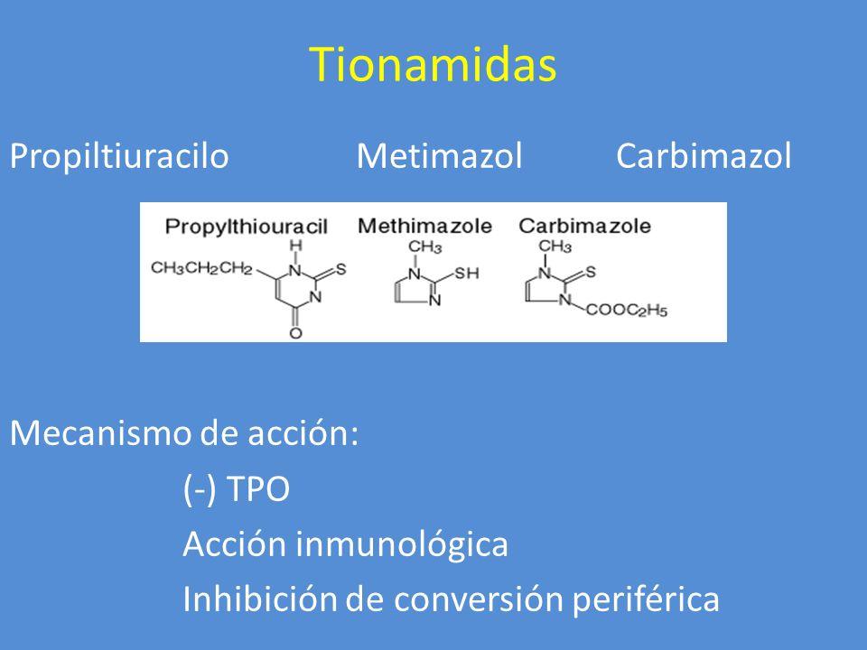 Tionamidas Propiltiuracilo Metimazol Carbimazol Mecanismo de acción: (-) TPO Acción inmunológica Inhibición de conversión periférica