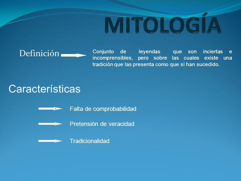 MITOLOGÍA Características Definición Falta de comprobabilidad