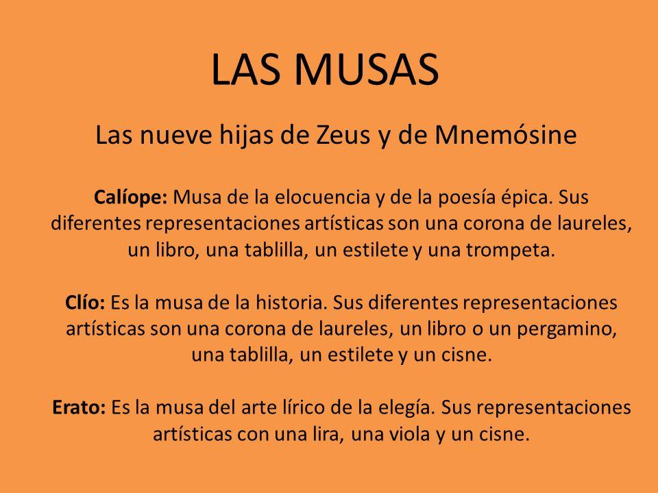 Las nueve hijas de Zeus y de Mnemósine