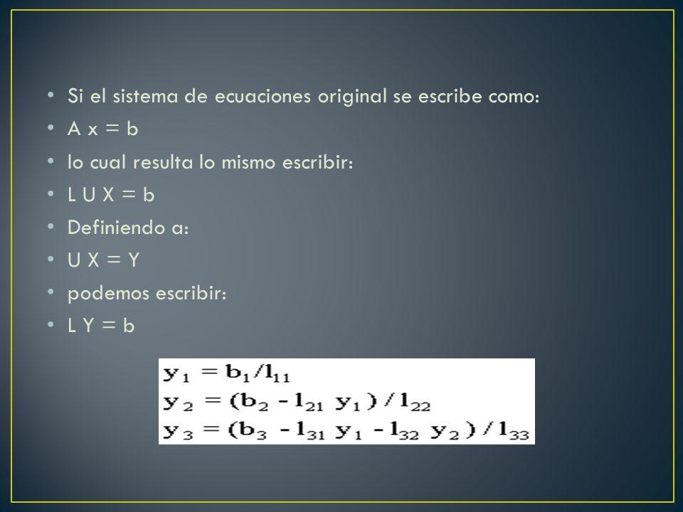 Si el sistema de ecuaciones original se escribe como: