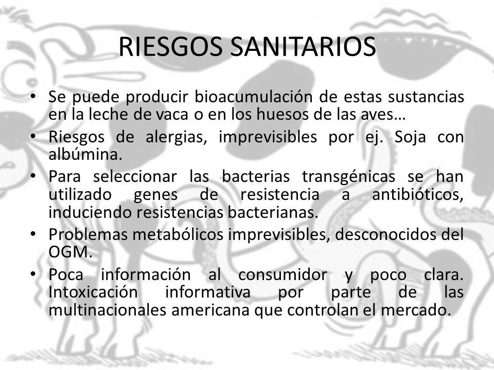 RIESGOS SANITARIOS Se puede producir bioacumulación de estas sustancias en la leche de vaca o en los huesos de las aves…