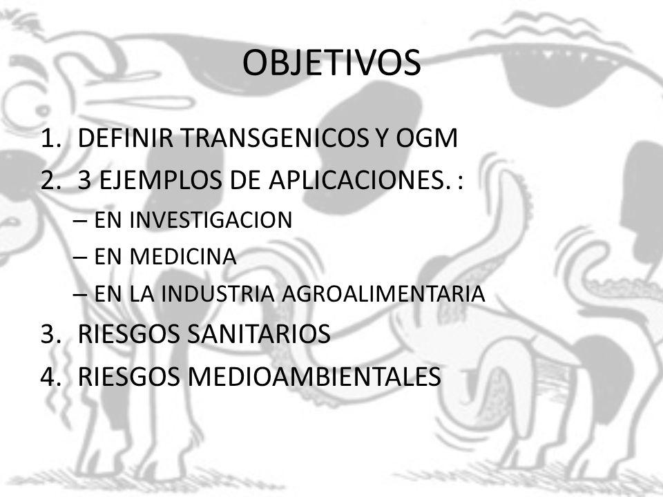 OBJETIVOS DEFINIR TRANSGENICOS Y OGM 3 EJEMPLOS DE APLICACIONES. :