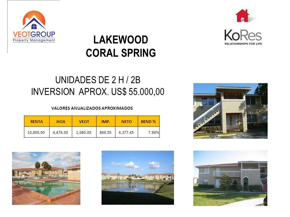 LAKEWOOD CORAL SPRING UNIDADES DE 2 H / 2B