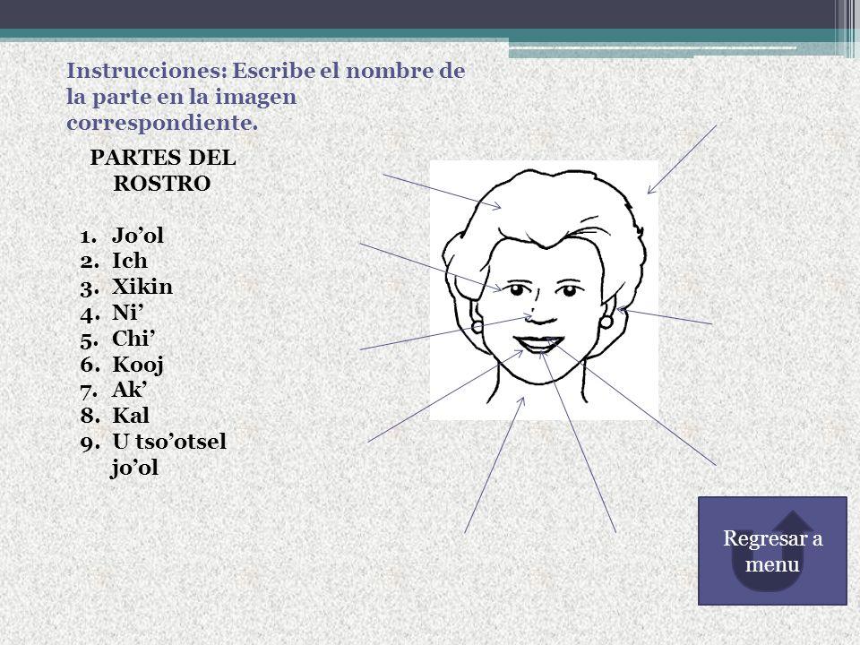 Instrucciones: Escribe el nombre de la parte en la imagen correspondiente.