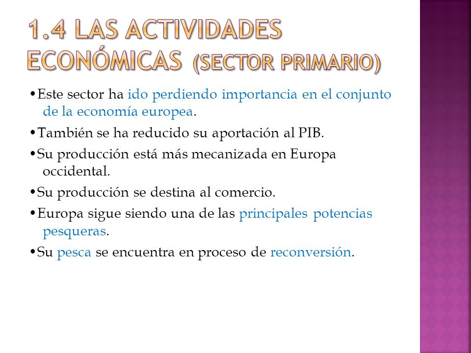 1.4 LAS ACTIVIDADES ECONÓMICAS (Sector primario)