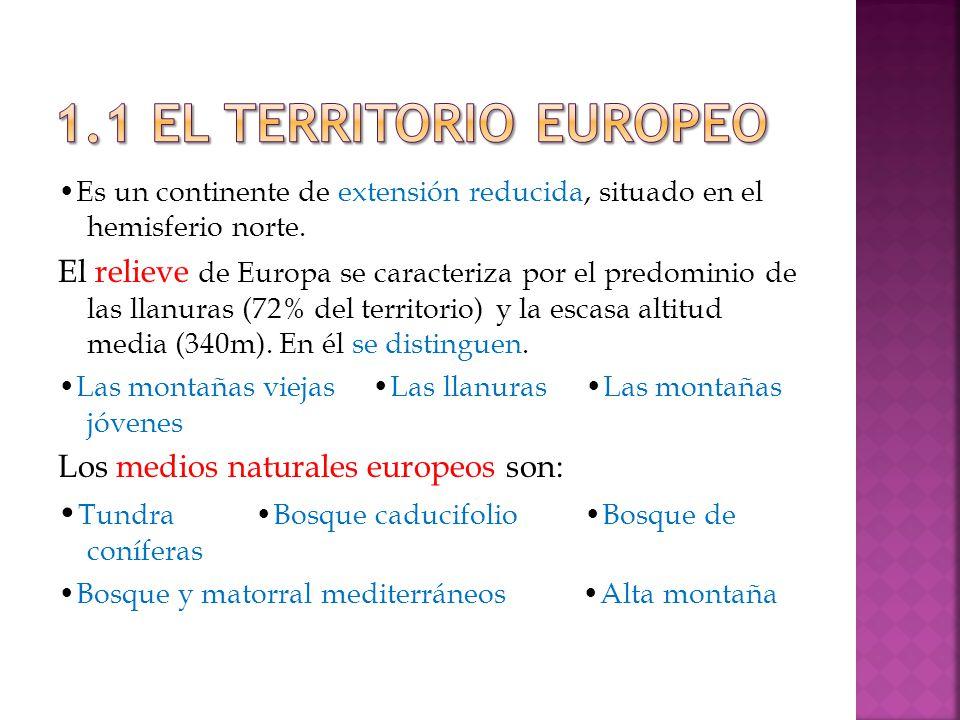 1.1 EL TERRITORIO EUROPEO •Es un continente de extensión reducida, situado en el hemisferio norte.