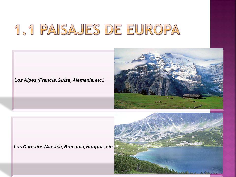 1.1 PAISAJES DE EUROPA Los Alpes (Francia, Suiza, Alemania, etc.)