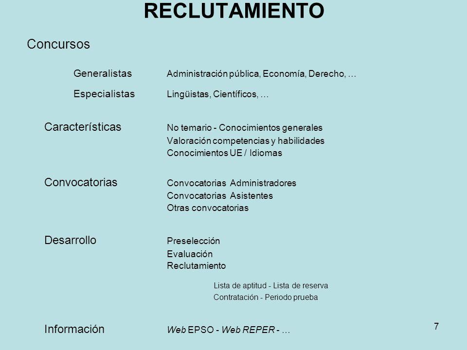 Generalistas Administración pública, Economía, Derecho, …