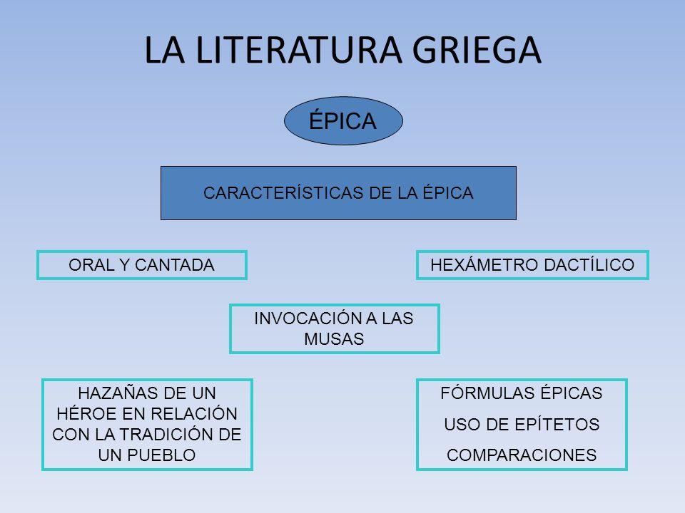 LA LITERATURA GRIEGA ÉPICA CARACTERÍSTICAS DE LA ÉPICA ORAL Y CANTADA