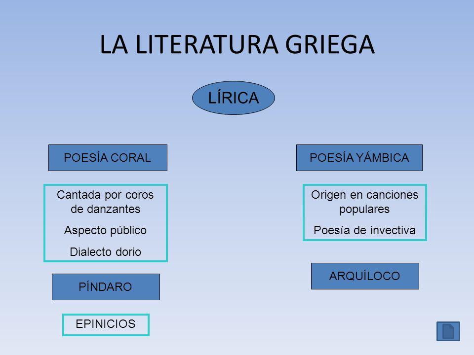 LA LITERATURA GRIEGA LÍRICA POESÍA CORAL POESÍA YÁMBICA